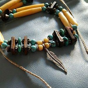 Jewelry - Bone, Turquoise, Leather Choker